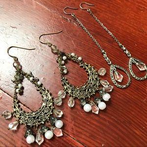 2 Silver Beaded Rhinestone Drop Earrings
